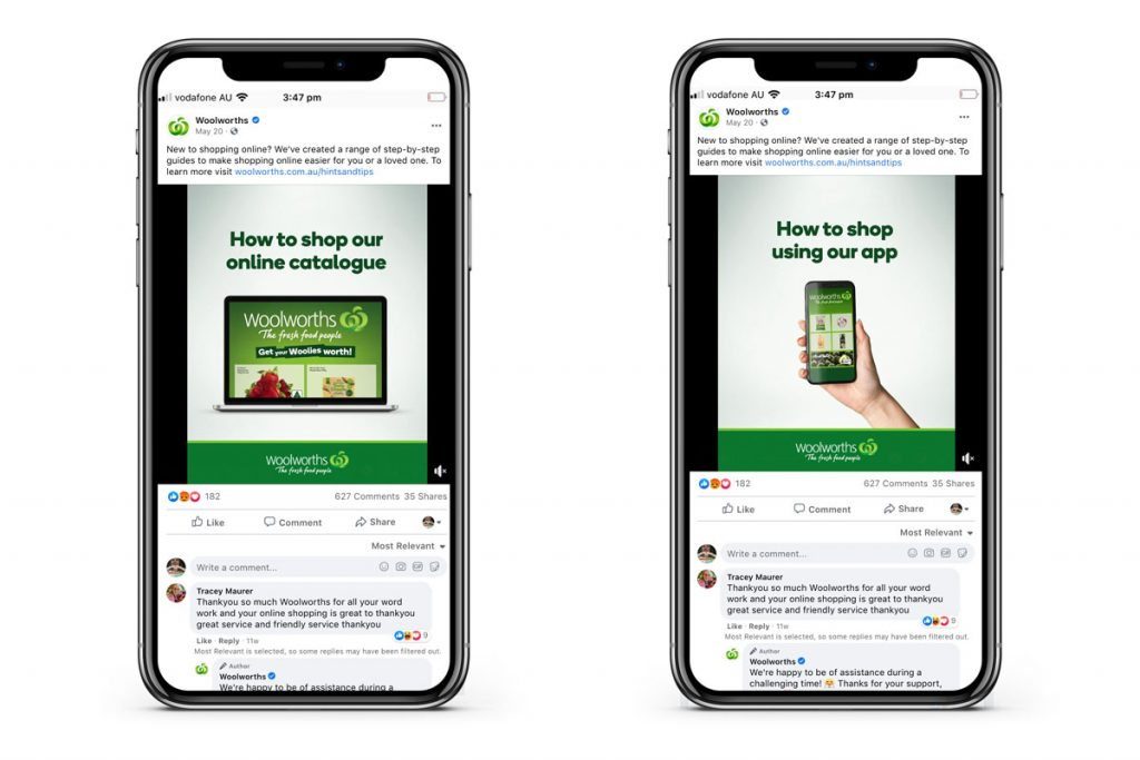 Examples of social advertisements for Woolworths in-catalogue shopping app